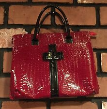 Women's Briefcase Laptop Faux Red Reptile Black Patent Leather Bow Organizer