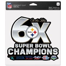 "Pittsburgh Steelers 6 X ""ON THE 50"" Super Bowl Champions Decal NEW Wincraft"