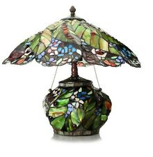 "Tiffany-Style 17.5"" Rainforest Double Lit Stained Glass Table Lamp"
