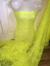 """1 MTR NEON YELLOW LACE NET LYCRA STRETCH FABRIC...60"""" WIDE £3.49 SPECIAL OFFER"""