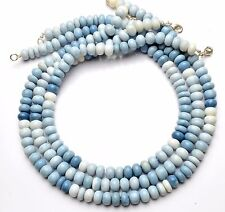 Natural Gem Peruvian Blue Opal 9MM Approx. Rondelle Beads Necklace 17.5""