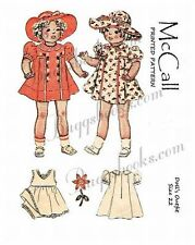 Vintage 1930's Shirley temple doll like clothes sewing pattern - 22 inch
