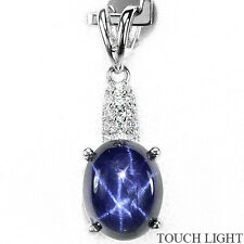 Awesome Natural 6 Rays Star Blue Sapphire & Whte Cz 925 Sterling silver Pendant