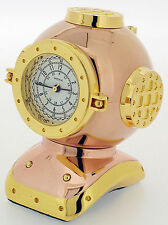 Novelty Miniature Divers Helmet Clock in Gold Tone on Solid Brass