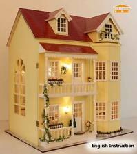 Wooden Dollhouse Miniatures DIY House Kits Led Light+Music Box+Doll--Large villa
