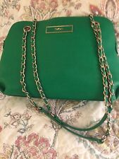 DKNY Kelly Green Leather & Gold Convertible Purse Chain Handle