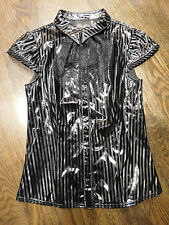 Lip Service Black Diamond Dynasty PVC Pinstriped Ruffle Blouse Goth, Punk,Lolita