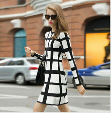 Fashion Women's Long Sleeve Party Cocktail Casual Bodycon Skater Mini Dress Tops