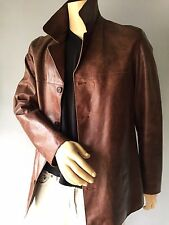 Rogue Distressed Brown Leather Button Down Coat Long Jacket Size S