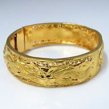 NYJEWEL 24k Solid Gold China Style Dragon and Phoenix Bracelet