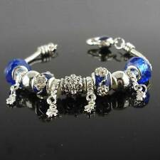 "Silver Plated Blue Murano Glass Beads Bracelet CZ 7.5""Chain Link Charms Jewelry"