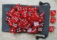 Lot 50 Red 6 Sided D&D D20 Game D6 16mm RPG Dice bag UU