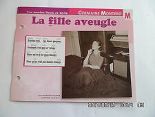 CARTE FICHE PLAISIR DE CHANTER GERMAINE MONTERO LA FILLE AVEUGLE