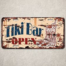 LP0101 Tiki Bar Open Sign Auto License Plate Rust Vintage Home Store Decor