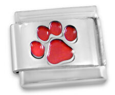 Italian charm Red paw print 9mm classic link   (A59)