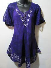 Top Fits XL 1X 2X 3X Plus Tunic Purple Batik Lace Up Neckline A Shaped NWT G482