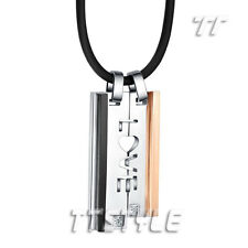 TTstyle Black/Rose Gold Stainless Steel Love Pendant Necklace For Couple Set