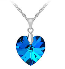 Sterling Silver Crystal Heart of the Ocean Titanic Pendant Necklace Chain BoxF12