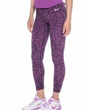 NIKE WOMEN'S CLUB CROP AOP LEGGINGS PURLPLE SZ XS #642994-NWT