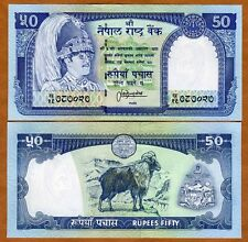 Nepal, 50 Rupees, ND (1983-), P-33 (33c), Sign. 13 UNC   King Birendra, Goat