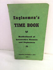 Vintage 1949  Enginemen's Time Book Work Record Engine No. Railroad Hours +