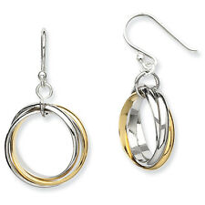 925 Sterling Silver Polished Gold-Plated Triple Circle Dangle Earrings