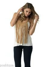 Sky Clothing Brand S Top Off White Suede Fringe Halter Club Party Boho Sexy Chic