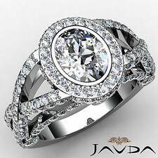 Oval Cut Diamond Halo Pave Set Engagement Ring GIA H VS1 18k White Gold 2.92ct