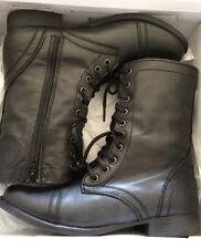 Steve Madden TROOPA Leather Military Combat Style Fashion Boots Black Sz 7-M