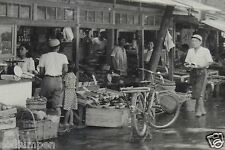 Antique WWII Era Japanese Fruit Stand Market Original Black & White Photograph