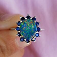 Australian Lightning Ridge Black Opal Natural Sapphire 14K Gold Ring Halo Size 7