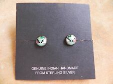Turquoise , Malachite, Onyx, Coral & Sterling Silver Petite Stud Earrings Navajo