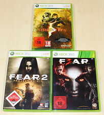 3 XBOX 360 SPIELE SET - RESIDENT EVIL 5 GOLD EDITION & FEAR 2 3 PROJECT ORIGIN