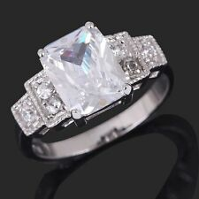 Womens Jewelry Size 9 Halo White Sapphire 18K Gold Filled Nobby Anniversary Ring