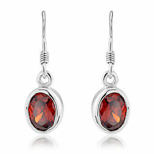 Ladies Garnet CZ Oval Sterling Silver Earrings