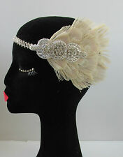 Cream Ivory Silver Peacock Feather Headband 1920s Great Gatsby Flapper Vtg V89