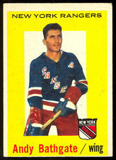 1959-60 TOPPS HOCKEY #34 ANDY BATHGATE EX+ NEW YORK N Y RANGERS CARD