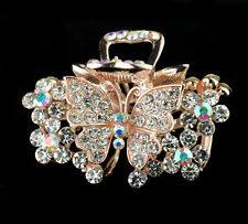 women hair extension crystal white barrette clip comb butterfly rhinestone claw