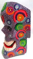 DAY OF THE DEAD HALLOWEEN SKULL MASK = HAND CARVED = GUATEMALAN FOLK ART