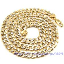"""23.7""""9mm74g REAL MEN GIFT 18K YELLOW WHITE GOLD GP NECKLACE SOLID FILL CHAIN"""