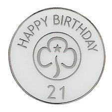 Guide Happy 21st Birthday Metal Badge Girlguiding
