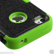 iPhone 4 4S Hybrid T Armor Snap-On Hard Case Skin Cover Black Green