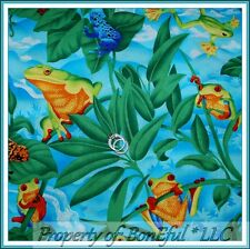 BonEful FABRIC FQ Cotton Quilt Green Blue White Cloud FROG Leaf Beach Boy Water