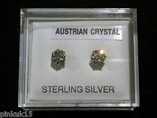 New Sterling Silver 925 Austrian Crystal Swarovski Stud Earrings with Gift Box