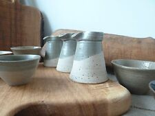 Local studio pottery small sauce jug | pale blue glaze in asymmetrical style
