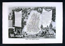 1852 Levasseur Antique Map - Haut Rhin - Colmar Altkirch Mulhouse Thinn - France