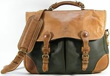 MULHOLLAND BROTHERS LAPTOP BUSINESS CASE WEEKENDER DUFFEL BAG OLIVE GREEN BROWN