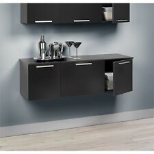 Modern Black Floating Wall Mount Buffet Storage Cabinet Bathroom or Kitchen