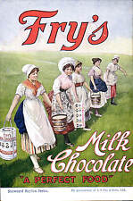 Advertising. Fry's Milk Chocolate. A Perfect Food. Dairymaids.