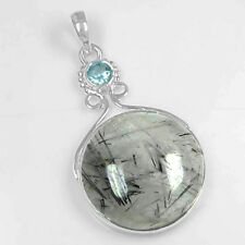 8.21 Gm 925 Sterling Silver Natural Black Rutile Pendant Blue Topaz Fine Jewelry